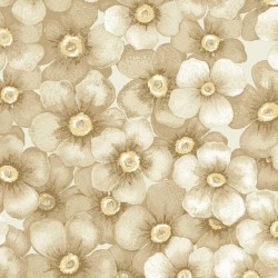 Tela flores cerezo beige