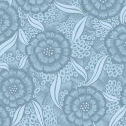 Tela flores mandalas azul