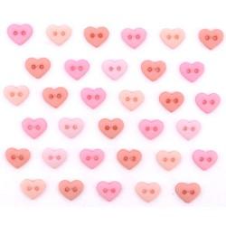 Botones Mini Corazones rosas