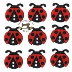 Botones Sew Cute Ladybugs