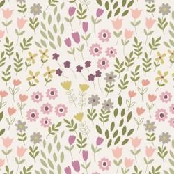 Tela flores fondo crema