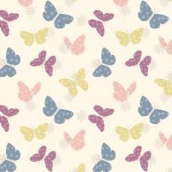 Tela mariposas fondo crema